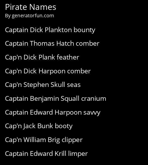 Pirate Names