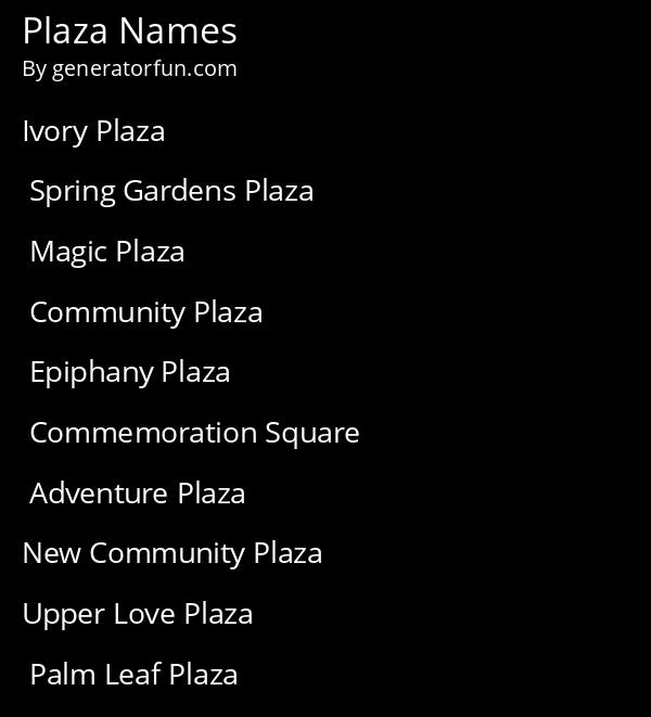 Plaza Names