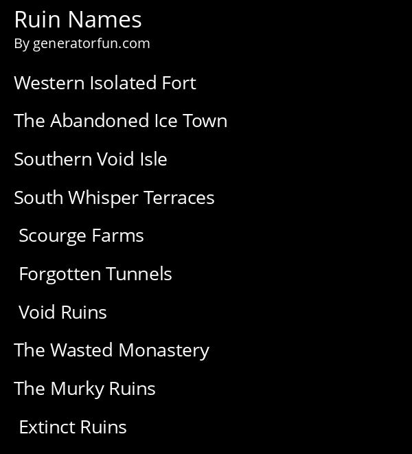 Ruin Names