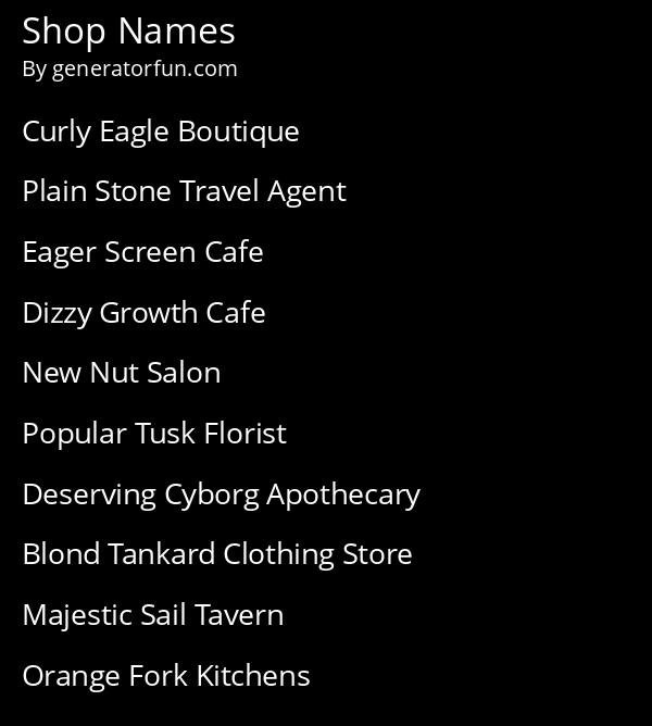 Shop Names