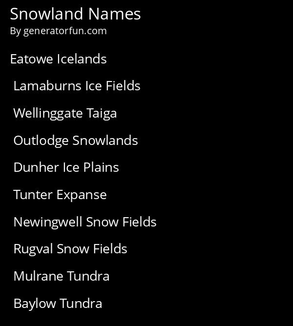 Snowland Names