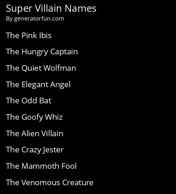 Super Villain Names