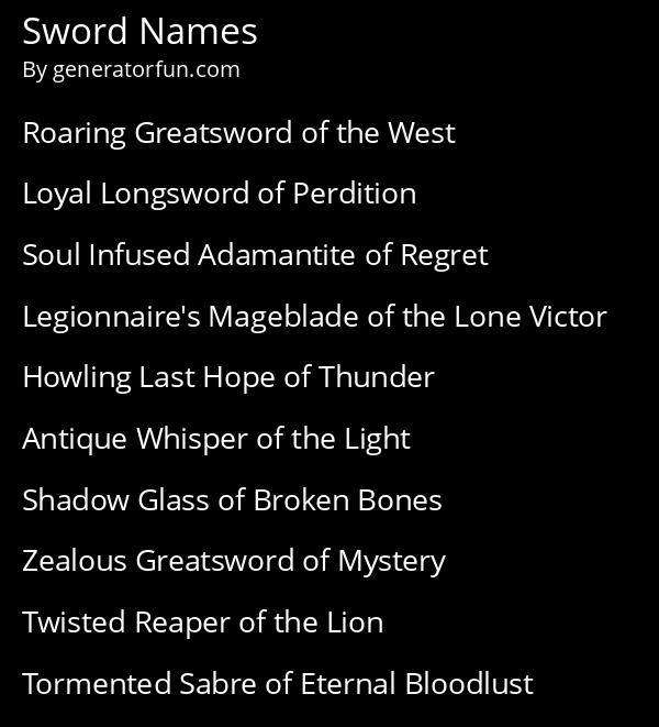 Sword Names