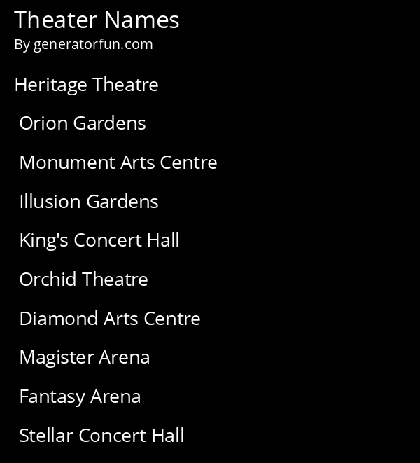 Theater Names