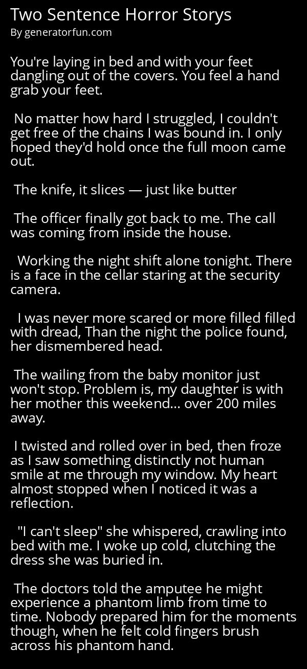 Two Sentence Horror Storys