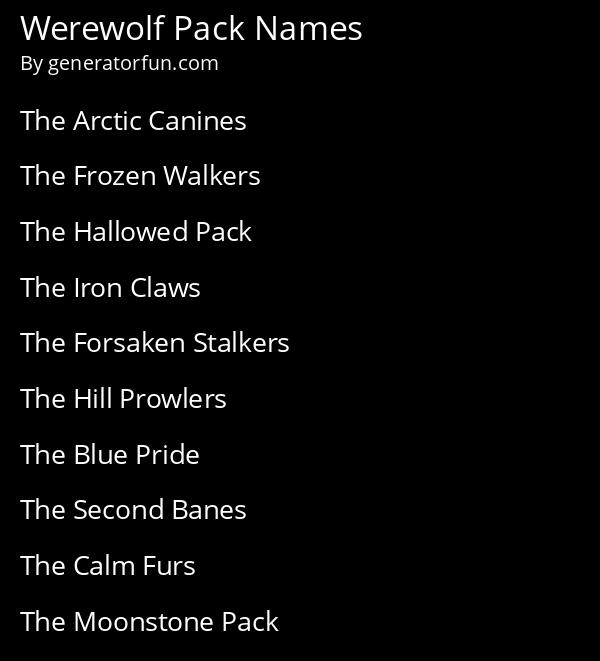 Werewolf Pack Names