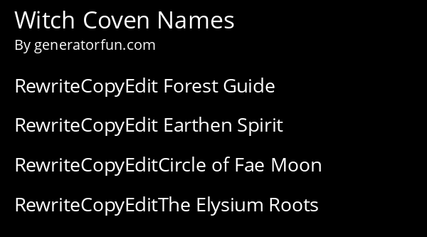 Witch Coven Names